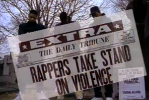 "A still from the video for ""Self Destruction"" organized by KRS-One's Stop the Violence Movement in 1989."