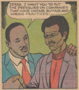 MLK making a poorly rendered Jesse Jackson the head of Operation Breadbasket.