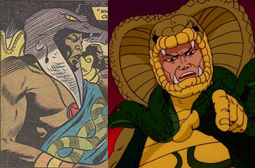 Marvel's Damballah (left) and G.I.JOE's Serpentor (right), cloned leader of Cobra.