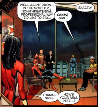 Jessica Drew's re-introduction to the superhero world focused primarily on her body (from New Avengers vol. 1, #4)
