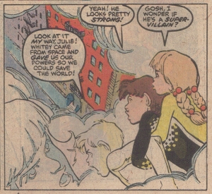 """Whitey came from space and gave us our powers so we could save the world!"" Sorry to break the news, Alex, but that's true of every superhero. (from Power Pack #31)"
