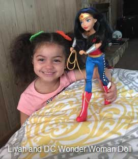 Liyah, a Jordanian immigrant living in the United States, loves her Wonder Woman doll.