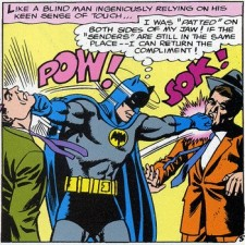 Batman stands in the center of the image punching two people on either side of him. The comic onomatopoetic sounds 'Pow!' and 'Sok!' accompany the hit to the person on the left and the person on the right respectively.
