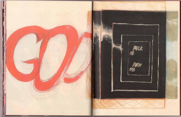 a full page from Yours. On the left in red loose lettering is the word 'God'. On the right side is a series of five concentric white rectangles filled in with black with 'Fuck me' on the top and bottom of the innermost rectangle.