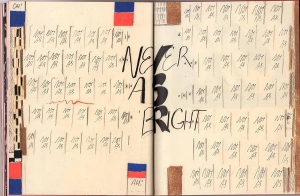An excerpt from 'Yours' illustrating the use of repetition in the comic. This spreed features two pages dominated by the text 'Not As' written repeatedly with the text 'NEVER AS BRIGHT' occupying the center of the spread, edging into the binding.""