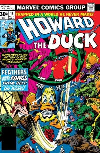 The cover to Howard the Duck #17. Howard is swinging from a chandelier with a cigar in his mouth, while Dr. Bong and his monsters (and a frightened Bev) are below.