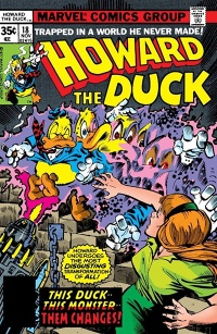 The cover to Howard the Duck #18. Howard mid-transformation into some kind of monster as Bev recoils