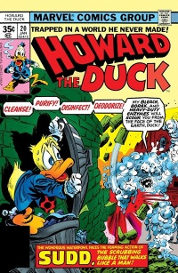 The cover to Howard the Duck #20. Howard cowers behind a trash can lid from a humanoid monster made of scrubbing bubbles.